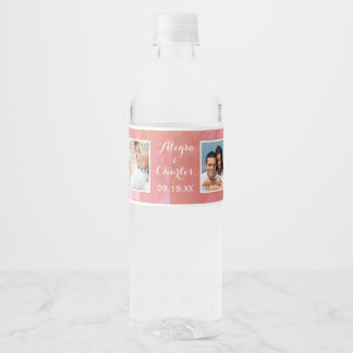 Salmon Watercolor Wedding Photo Collage Water Bottle Label