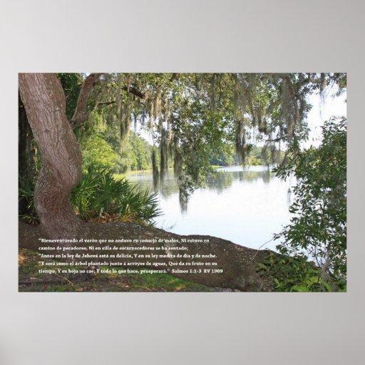 Salmos 1:1-3 (Cartel con Rio y Arbol Horizontal) Print