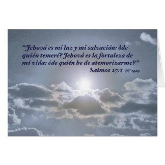 Salmos 27 1 con el Sol y Nubes Carta Card