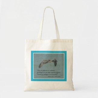 Salmos 91:4 con Pelicano Volando Canvas Bags