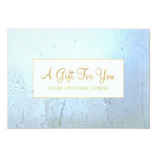 Salon and Spa Aqua Blue Glass Gift Certificate 9 Cm X 13 Cm Invitation Card