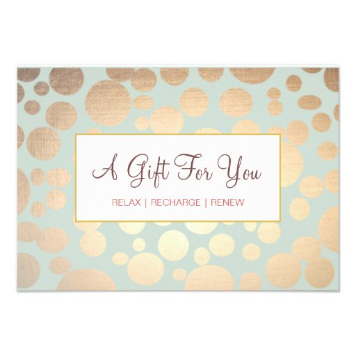 Salon and Spa Faux Gold Leaf Look Gift Certificate Invites