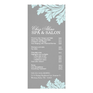 Salon and Spa Service Menu Personalized Rack Card
