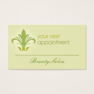 Salon appointment, beauty, spa green business card