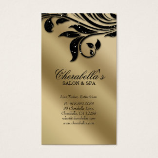 Salon Business Card Elegant Black Silver Gold