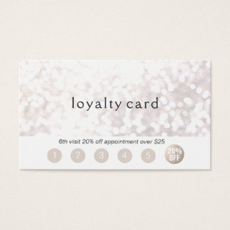 Salon Customer Loyalty 6 Punch Glitter Bokek Business Card