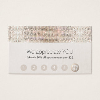 Salon Customer Loyalty 6 Punch Silver Sequin