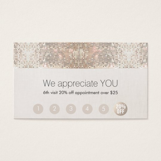 Salon Customer Loyalty 6 Punch Silver Sequin Business