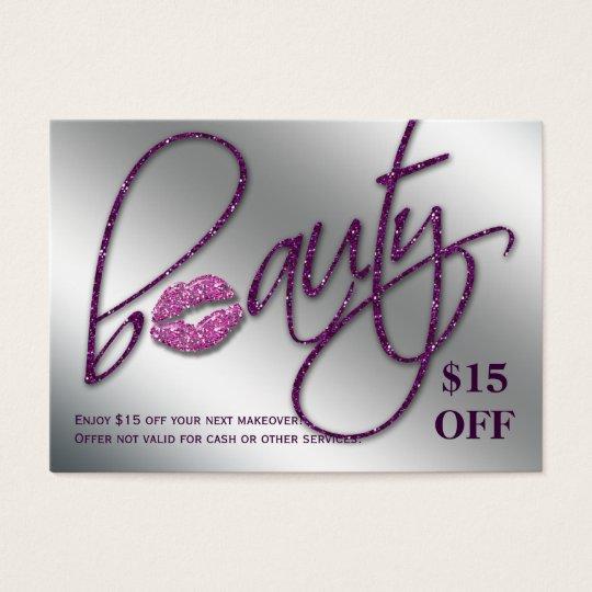 Salon Discount Card Beauty Lips Sparkle Purple