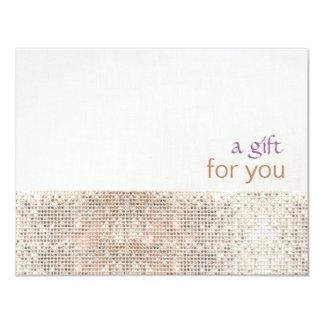 Salon Faux Sequins Linen Salon Gift Certificate 11 Cm X 14 Cm Invitation Card