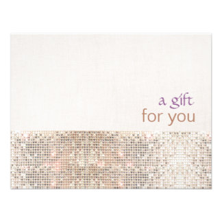 Salon Faux Sequins Linen Salon Gift Certificate Custom Invite