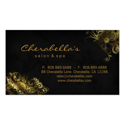 Salon Floral Appointment Business Card Black Gold