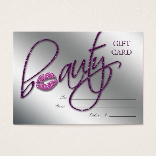 Salon Gift Card Beauty Lips Sparkle Purple