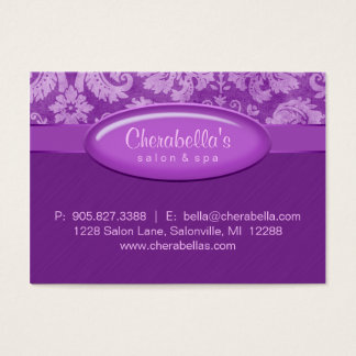 Salon Gift Card Certificate Spa Purple Damask