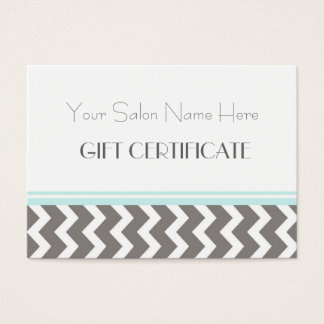 Salon Gift Certificate Aqua Grey Chevron