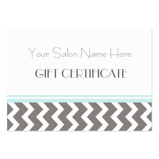 Salon Gift Certificate Aqua Grey Chevron Business Card