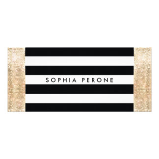 Salon Gift Certificate Black Stripes Gold Sequin