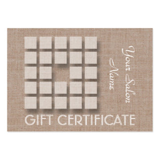 Salon Gift Certificate - Linen and Squares Pack Of Chubby Business Cards