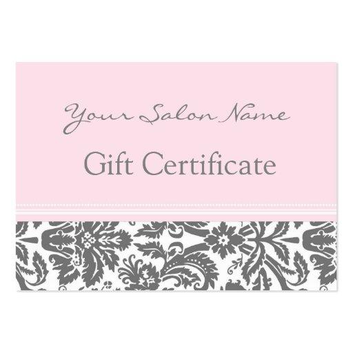 Salon Gift Certificate Pink Grey Damask Business Card Template