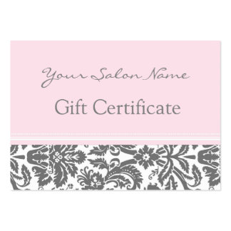 Salon Gift Certificate Pink Grey Damask Pack Of Chubby Business Cards