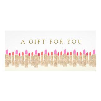 Salon Gold Sequin Lipstick Gift Certificate Rack Card