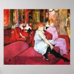 Salon in the Rue de Moulins by Toulouse-Lautrec Poster
