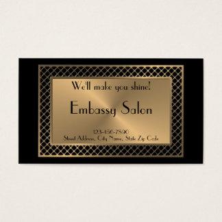 Salon in Upscale Gold Lattice on Black Business Card