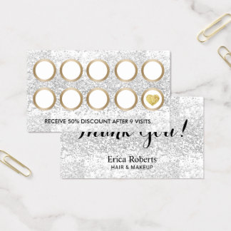 Salon Luxury Silver Glitter Modern Gold Loyalty Business Card