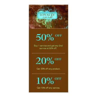 Salon Marketing Cards Blue Brown Grunge Floral Custom Rack Card