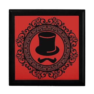 salon mustache hat hipster keepsake box