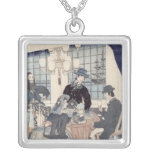 Salon of a house of foreign merchants at square pendant necklace