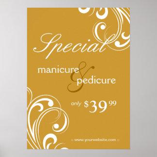 Salon Poster Spa Gold & White Swirls