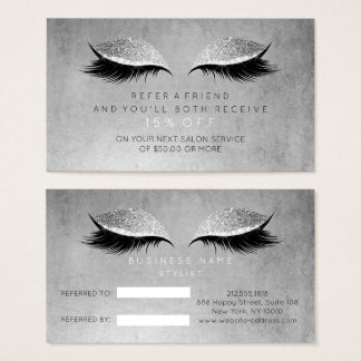 Salon Referral Card Blush Black Gray Lashes Makeup