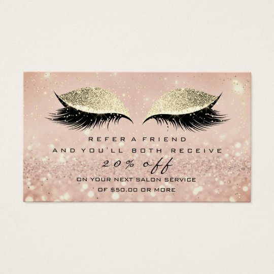 Salon Referral Card Blush Gold Rose  Lashes