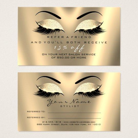 Salon Referral Card Glitter Black Gold Lux Lashes