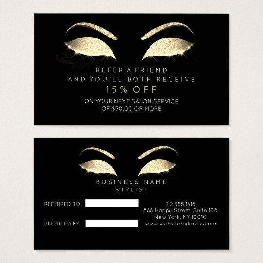 Salon Referral Card Glitter Gold Black Glam Lashes