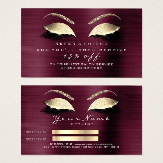 Salon Referral Card Glitter Gold Lux VIP Lashes