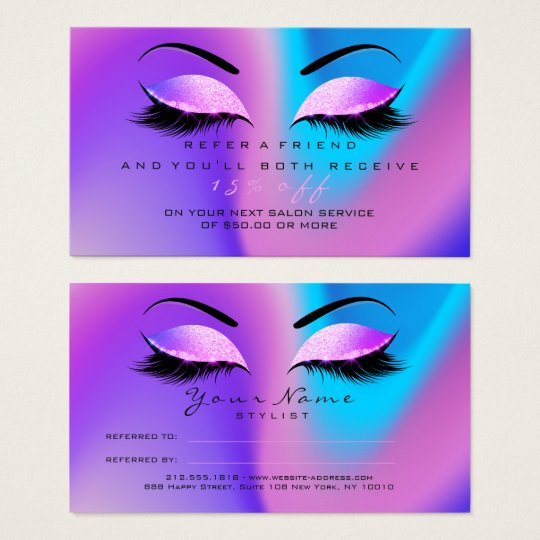 Salon Referral Card Glitter Miami Pink Lashes 1