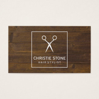 Salon Shears Rustic Wood White Box Business Card