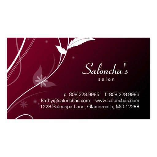 Salon Spa Business Card leaf red black