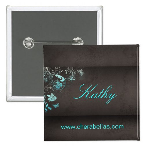 Salon spa butterfly name tag button brooch zazzle