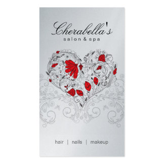 Salon Spa Floral Heart Red Silver Business Card Template