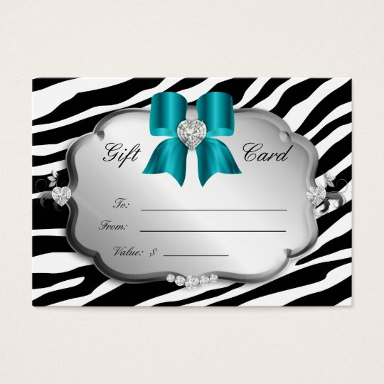 Salon Spa Gift Card Valentine's Zebra Silver Blue