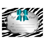 Salon Spa Gift Card Valentine's Zebra Silver Blue Pack Of Chubby Business Cards
