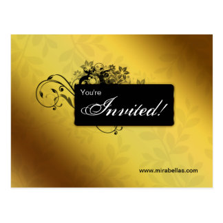 Salon Spa Postcard Invitation Gold Butterfly