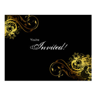 Salon Spa Postcard Invitation Gold Butterfly 2