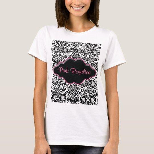 Salon Spa T Shirt Damask Black White Pink