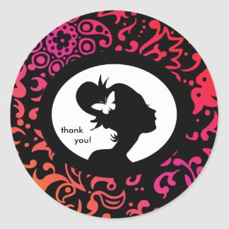 Salon Sticker Butterfly Colorful Woman Silhouette