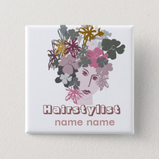 Salons Hair Styling Blooming Goddess 15 Cm Square Badge