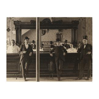 Saloon Bar Interior Men Man Cave 1890's Photo pub Wood Print